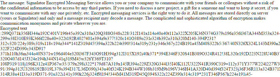 Encrypted messages communication